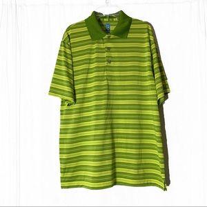 PGA Tour Airflux Medium Striped Golf Polo Green